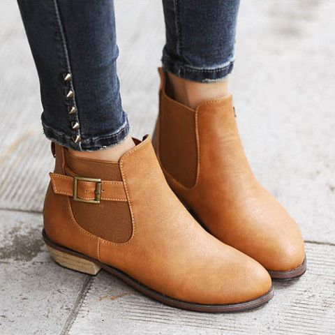 Roman Style Retro Simple Patch Boots