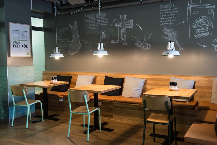Take a loot at our new restaurant in Helsinki, Finland :) Ingredients of our burgers are written on modern chalkboard wall #restaurant #design #interior