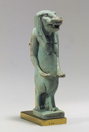 Taweret, Late Period (ca. 712–332 b.c.)  Egyptian  Faience Taweret and other closely related goddesses were created from a blending of lion, hippo, crocodile, and human attributes. The three animals were some of the fiercest species found in ancient Egypt and combining their strengths produced a most potent deity and therefore amulet. Taweret's particular responsibility was the protection of women during pregnancy and childbirth.