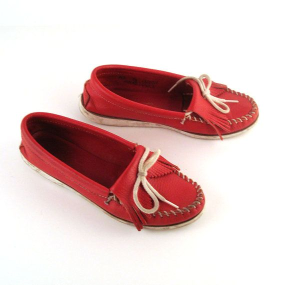 Red Minnetonka Moccasins Vintage 1980s by purevintageclothing, $28.00