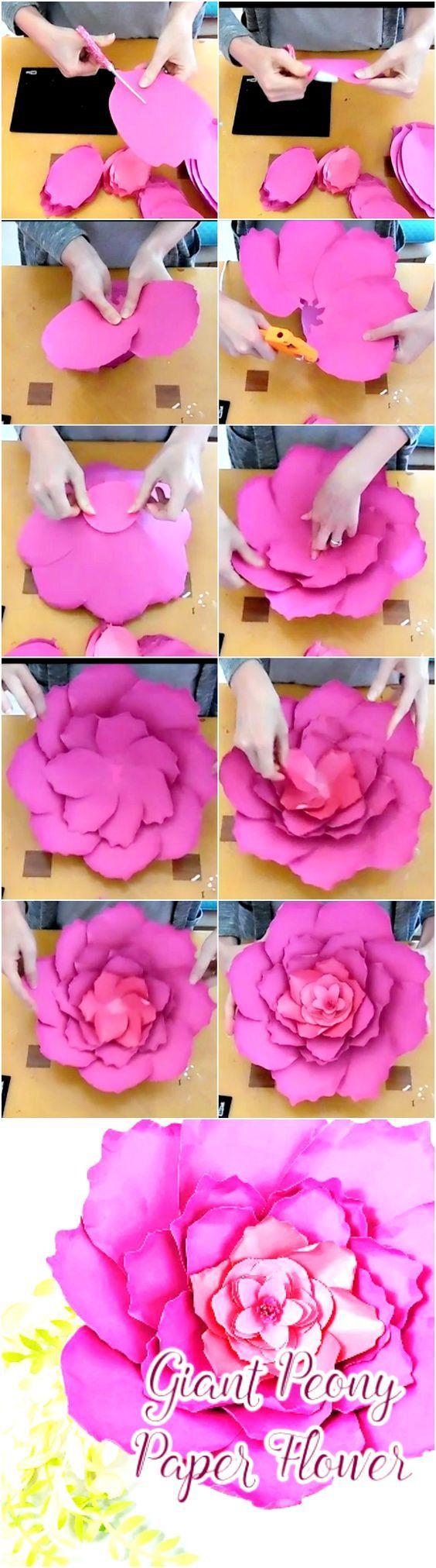 peônia gigante, modelos de flor de papel e tutoriais. padrões de flores de papel. flores de papel de DIY. #ideas - Crafting é minha vida