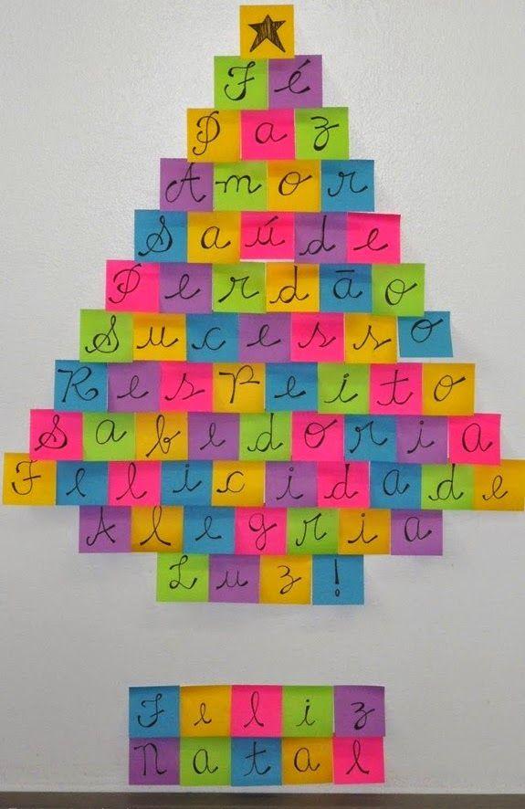 Mural De Natal 4 Ano Of Rvore Com Post It E Mensagem Linda Decora O De Natal