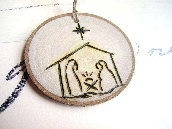 Rustic Christmas Gift Tag Ornament - Nativity Scene Ornament - Christmas Ornament - Wood Slice Ornament