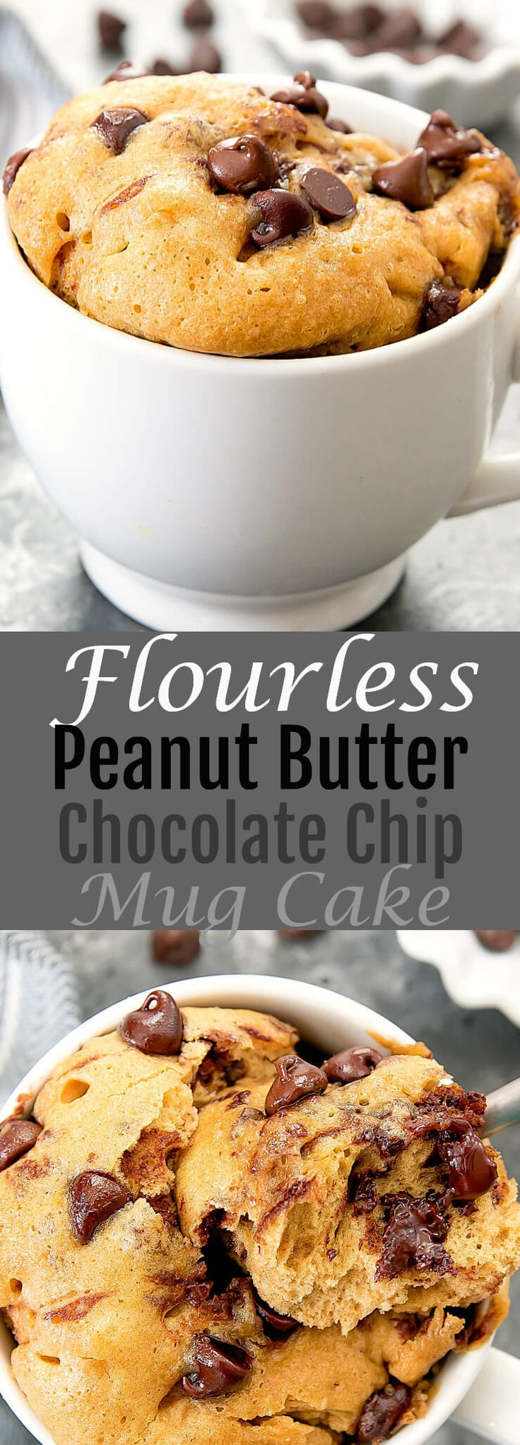 Flourless Peanut Butter Chocolate Chip Mug Cake. A single serving gluten free dessert that cooks in the microwave. Ready in about 5 minutes.
