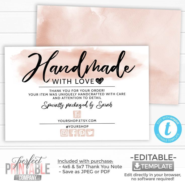 Handmade With Love Card Thank You For Your Order Package Insert Small Business Etsy Seller Thank You Note Watercolor Pastel Pink Cream In 2021 Small Business Cards Business Thank You Notes