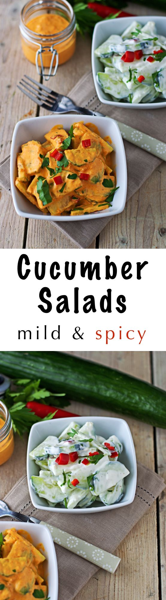 Due to popular demand: An easy #vegan #cucumber #salad recipe 2 ways: with a mild and a spicy dressing option. Only 5 ingredients and no cooking plate needed ;)