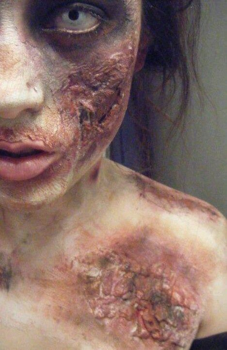Zombie makeup special fx gory avant garde burn makeup by lupita m