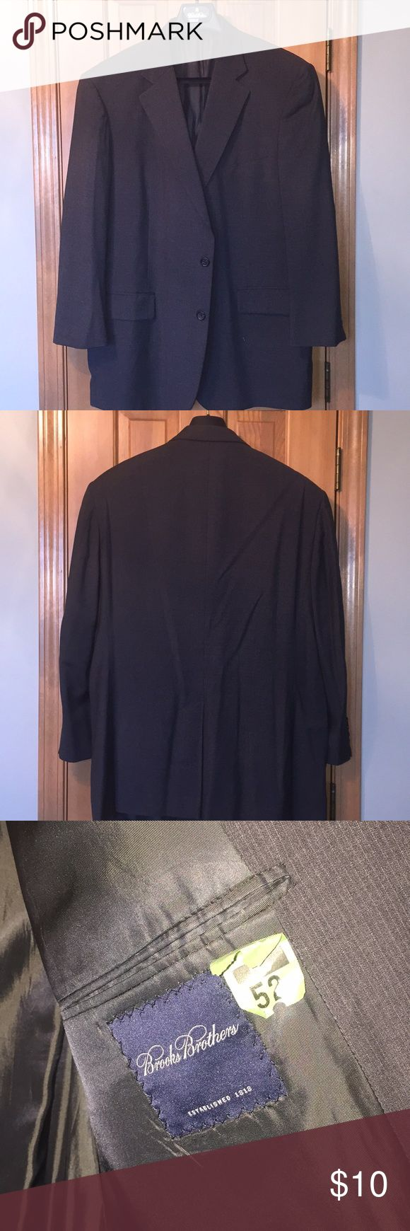 Brooks Brothers Grey Sport Coat 46 Regular Brooks brothers gray pinstripe two button  sport coat, slight signs of wear, two small pinholes beneath front left pocket, small wear marks on inside lapel right hand side, smoke free home. Brooks Brothers Suits & Blazers Sport Coats & Blazers