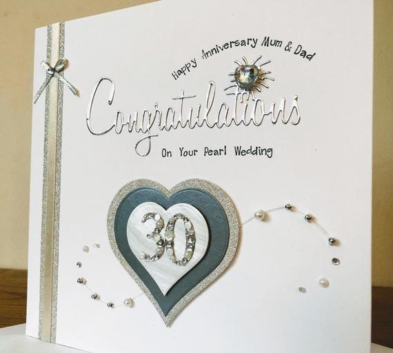 Personalised Luxury Pearl Wedding Anniversary Card Pearl Anniversar Wedding Anniversary Greeting Cards Wedding Anniversary Cards Wedding Anniversary Greetings