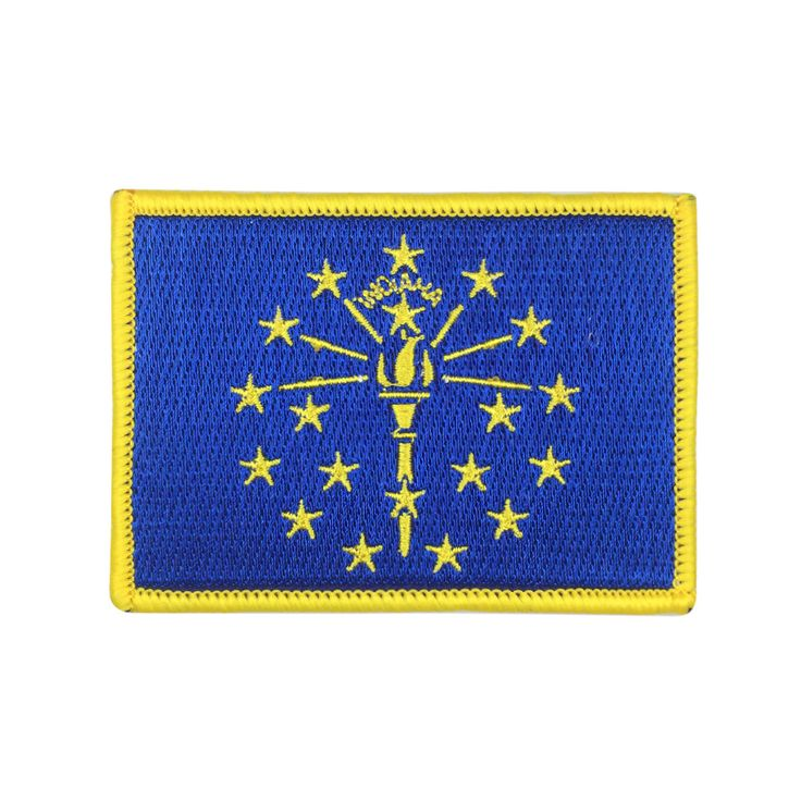 State of Indiana Flag Patch US Embroidered Patch Gold Border Iron On patch Sew on Patch badge Patch meet you on www.Fleckenworld.com