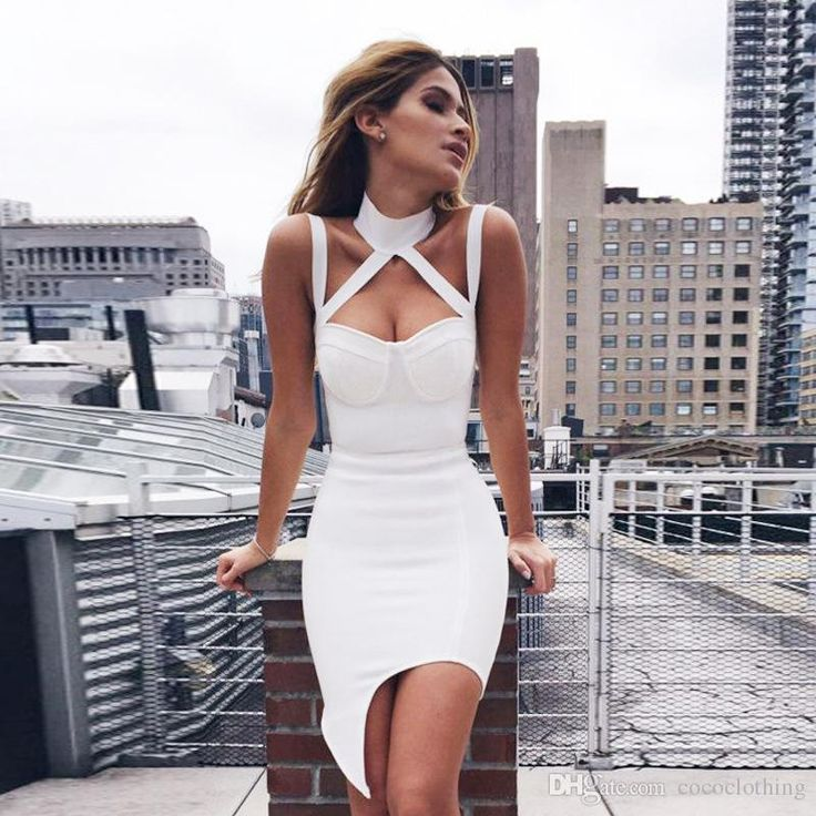 2016 Spring Summer Cool New Europe Ladies Halter Bandage Dress Sexy White Dress Nightclub Halter H1838 Ladies Dress White Dress Halter Dress Online with 73.83/Piece on Cococlothing's Store | DHgate.com