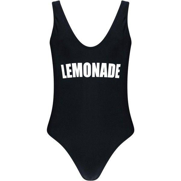 Boohoo Venice Lemonade Slogan Swimsuit (£27) ❤ liked on Polyvore featuring swimwear, bikinis, bandeau bikini, high waisted two piece swimsuit, triangle bikini, two piece swimsuit and high waisted bathing suits