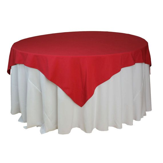 85 x 85 inch Red Table Overlays for 6 ft round tables, Square Red Tablecloths | Wholesale Red Table Linens, Matte Table Cloths