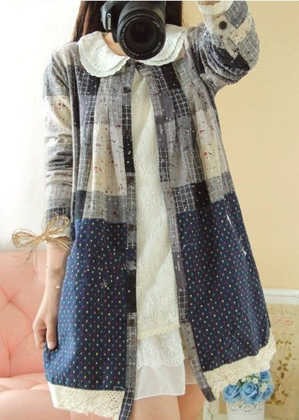 Exothic винтажный женщины хлопок блузка длинная свободного покроя шотландка горошек горох блузка кардиганкупить в магазине   B&Y          Just  be  yourself                  наAliExpress