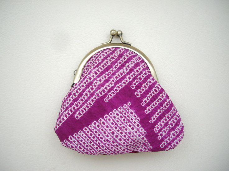 Shibori kimono coin purse, Gamaguchi, Purple kimono fabric, Silk kimono, Purple pink, Palm size coin purse, Money wallet, Little things case by WAYOKO on Etsy
