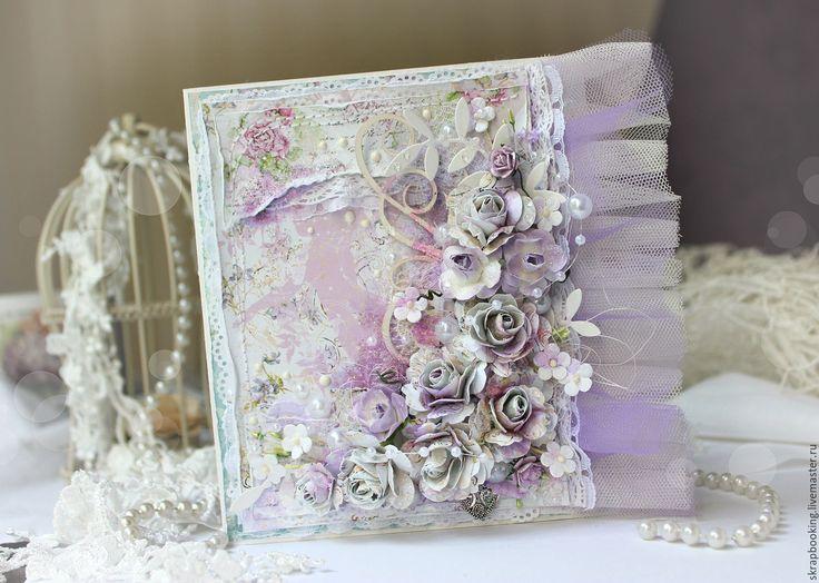 Купить Цветочная открытка - бледно-сиреневый, открытки, Открытка ручной работы, открытки любимым