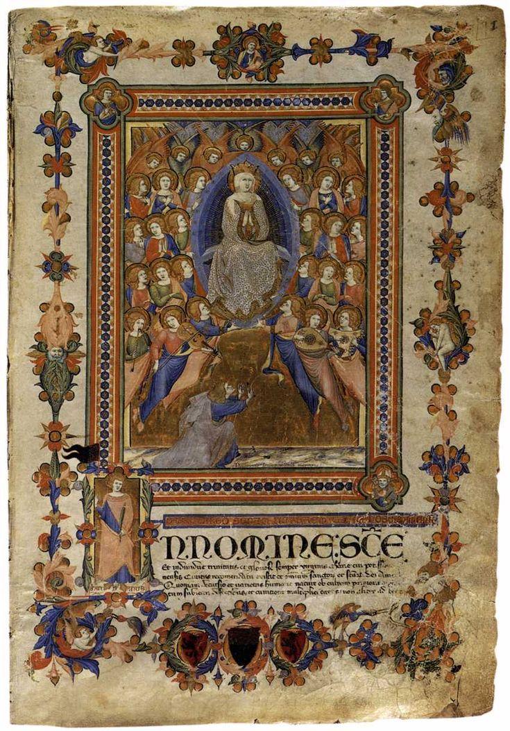 """le-desir-de-lautre: """" The Virgin of the Assumption 1336-38 Illuminated manuscript, 43,6 x 30,5 cm, Archivio di Stato, Palazzo Piccolomini, Siena """""""