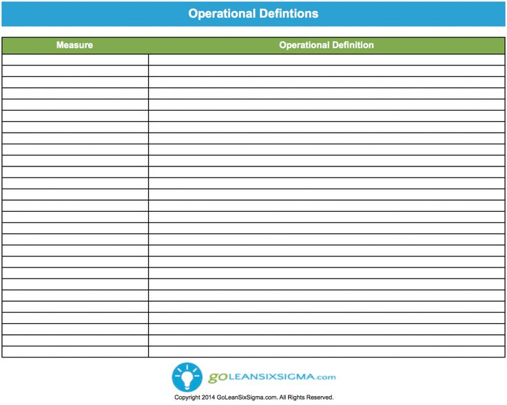 Operational Definition Lean Six Sigma Templates Operational Definition Definitions Lean