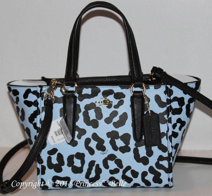 COACH Crosby Mini Ocelot Satchel Leather Purse Tote Shoulder Bag Pale Blue $350