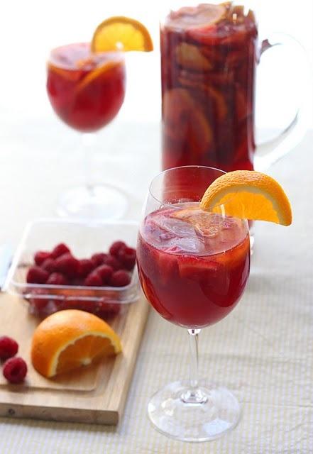 Rose sangria recipe 1 large orange 2 ripe yellow peaches for Sangria recipe red wine triple sec