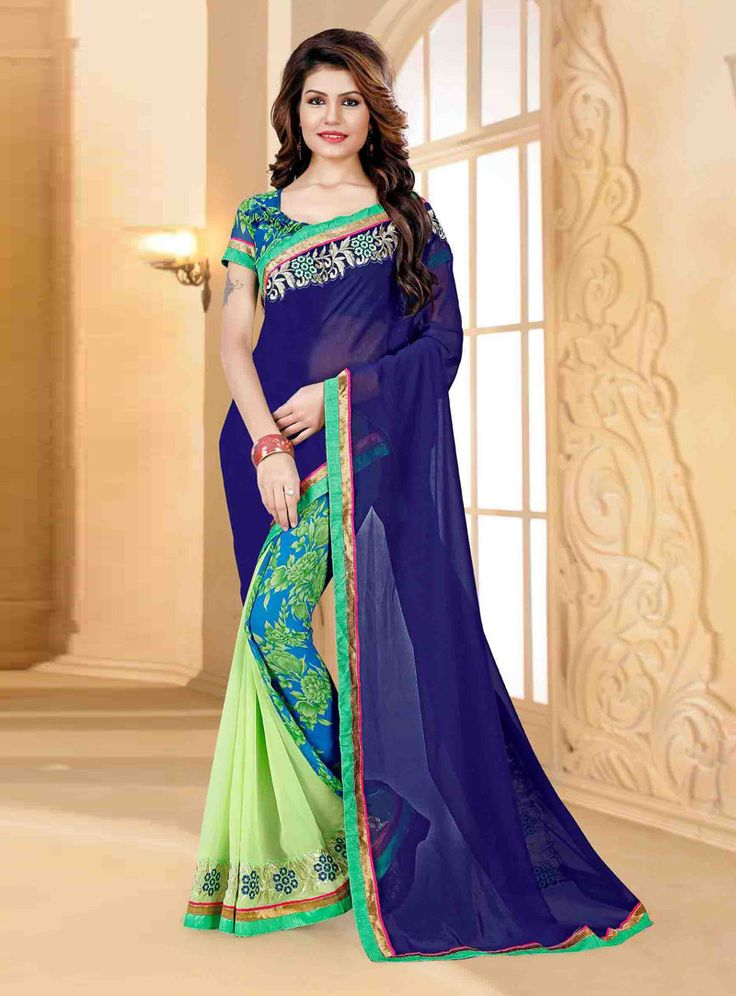 Navy Blue Georgette Printed Saree With Blouse 80817