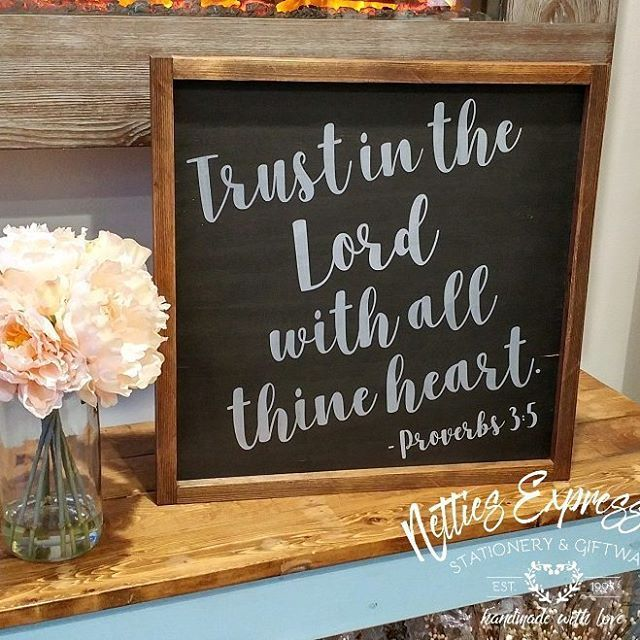 Trust in the Lord with all thine heart. This sign I tried something different by using Coal Black and Silver Metallic paint by@fusionmineralpaint  This 16 x 16 framed wood sign is available in store and through my Online Shop (link in bio⬆️) #n