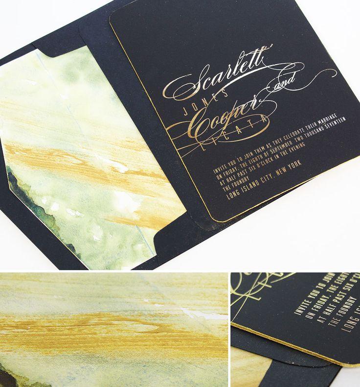 Gold Foil Black Tie Wedding Invitations 30