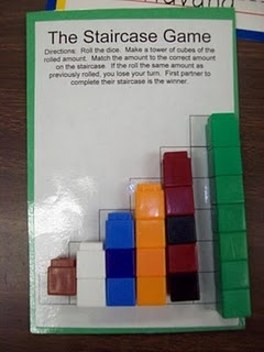 staircase game for math tubs.  Roll die, make a cube train that matches and stick on the corresponding 'step' on WS. If you roll the same number again, you lose your turn.  First player to complete the staircase wins!