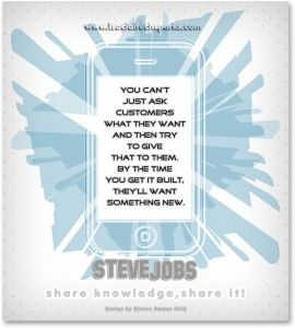 """Steve Jobs – """"You can't just ask customers what they want and then try to give that to them. By the time you get it built, they'll want something new."""""""