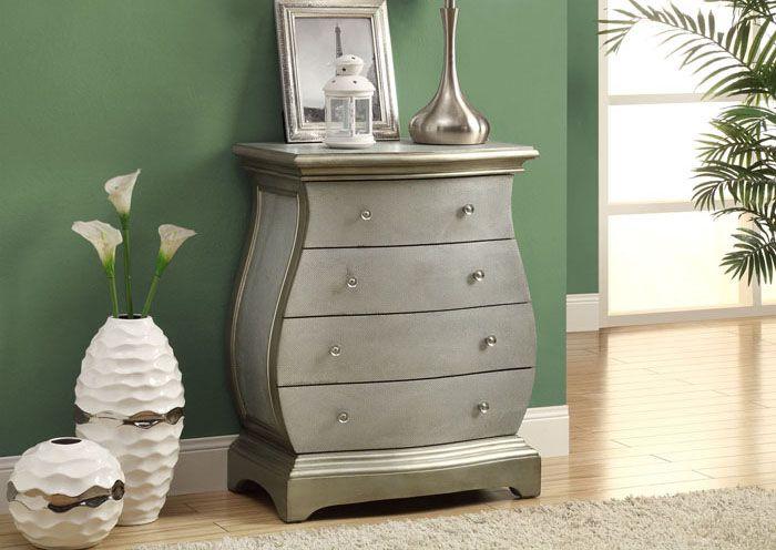 Hour glass shaped, 4 drawer, brushed-gold chest / Commode de couleur or brossé en forme de sablier avec 4 tiroirs