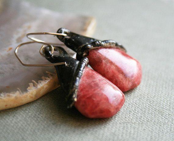 red earrings, rhodochrosite earrings, statement earrings, organic gemstone, organic earrings, raw earrings, rhodochrosite, tiffany method