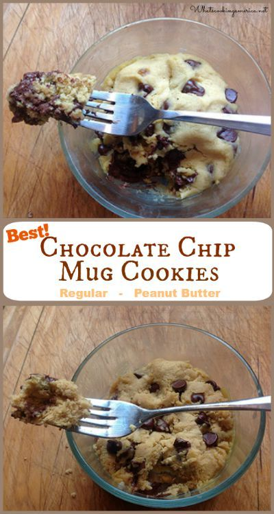 Best Chocolate Chip Mug Cookies Recipe - Regular & Peanut Butter