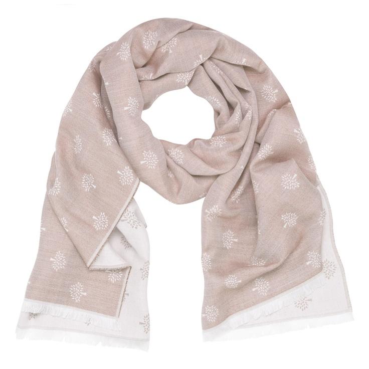 MULBERRY Tamara Scarf in Plaster Pink Silk Cotton Mix