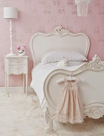 Love the pink walls and the gorgeous white ornate bed. Shabby Chic Girl's room