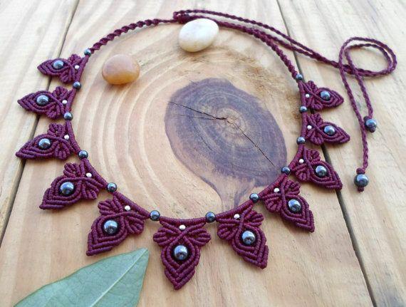 Hematite macrame necklace, macrame stone, micro macrame, micromacrame jewelry, gemstone necklace, macrame jewelry, bohemian necklace