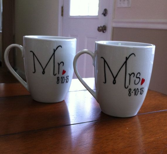 Mr And Mrs Wedding Coffee Mugs Personalized with wedding date on Etsy, $16.93 CAD