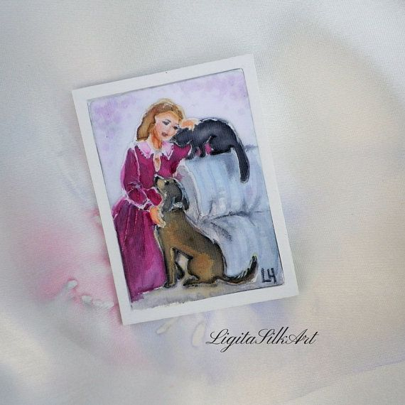 Doll house art painting Girl Cat Dog miniature by LigitaSilkArt