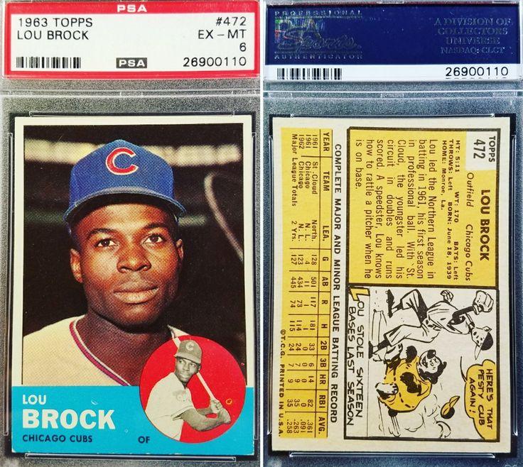 1963 Topps Hall of Famer Lou Brock graded ExcellentMint 6
