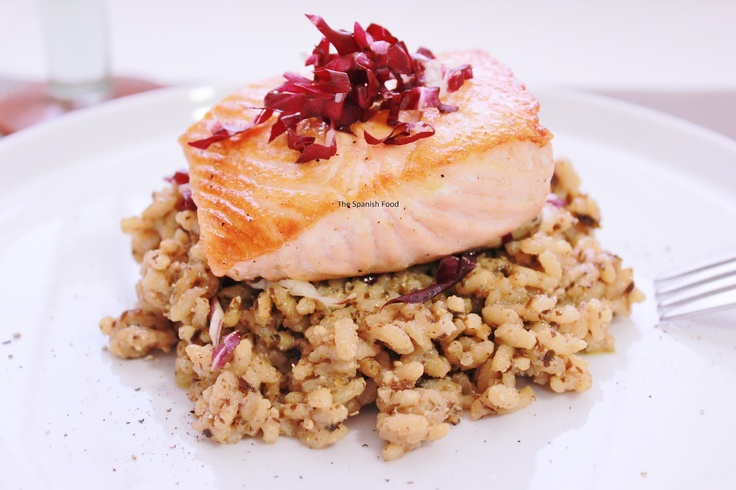 The Spanish Food: RISOTTO DE RADICCHIO Y SALMON AL VINO DULCE