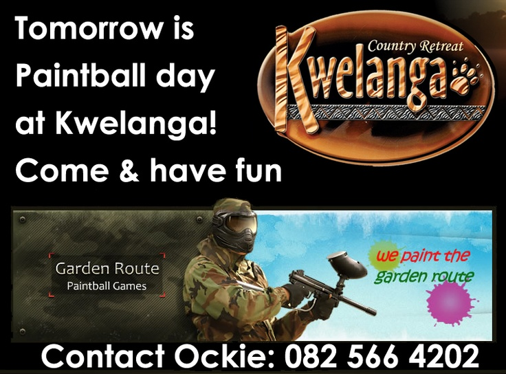 Paintball day at Kwelanga Lodge - 13 Jan 2013. Contact Ockie to book your space. Come and have fun!  www.kwelanga.co.za