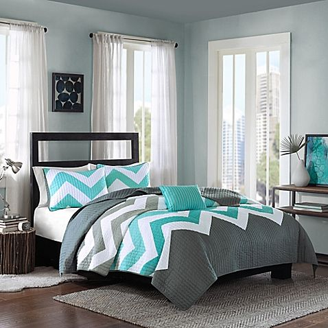 Liven up your bed with the trendy Cozy Soft Cade Reversible Quilt Set. Decked out in a textured and dimensional chevron design and a solid reverse, the vibrant bedding is a stylish addition to any bedroom's décor.