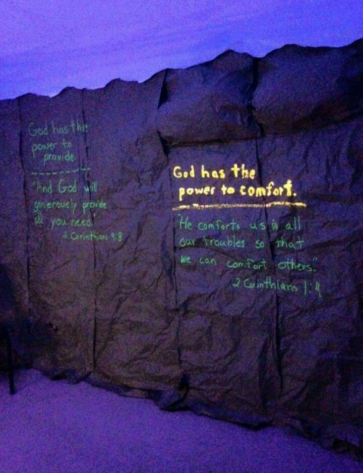 Using a black light and writing in a way so the words glow. Going down stairs into the CLC?