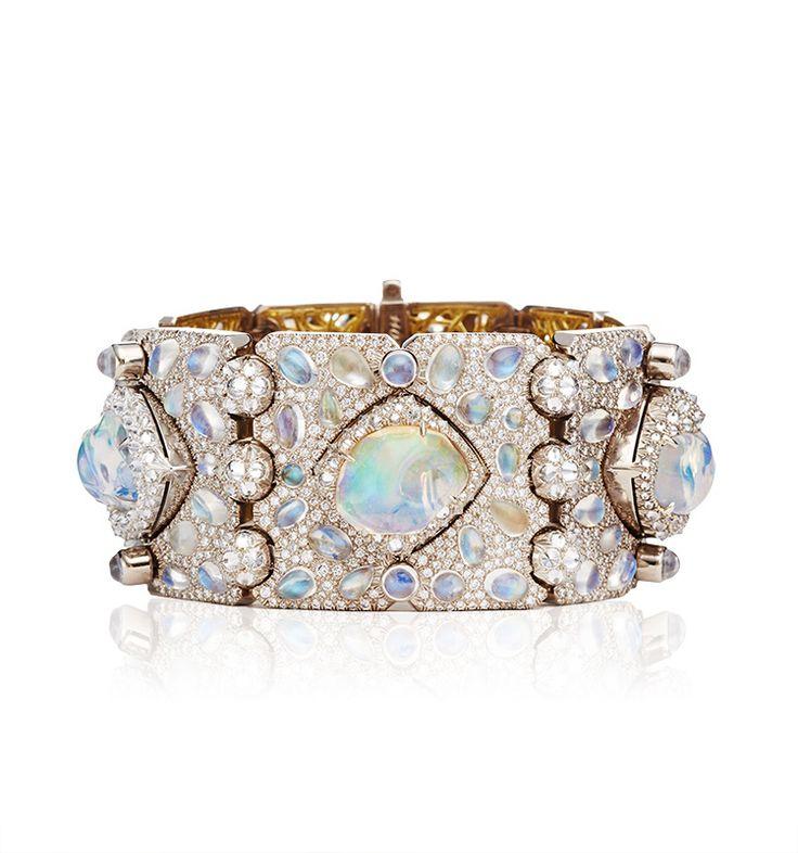Nicholas Varney Diamond, Moonstone, Fire Opal, and Gold Ventoux Bracelet Cuff.
