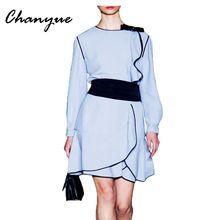 Chanyue Оборками С Длинным Рукавом Осень Dress Женщины Синий Офис Vestidos de Festa Midi для Торжеств и Вечеринок Платья Империя Лук Халат Femme(China (Mainland))