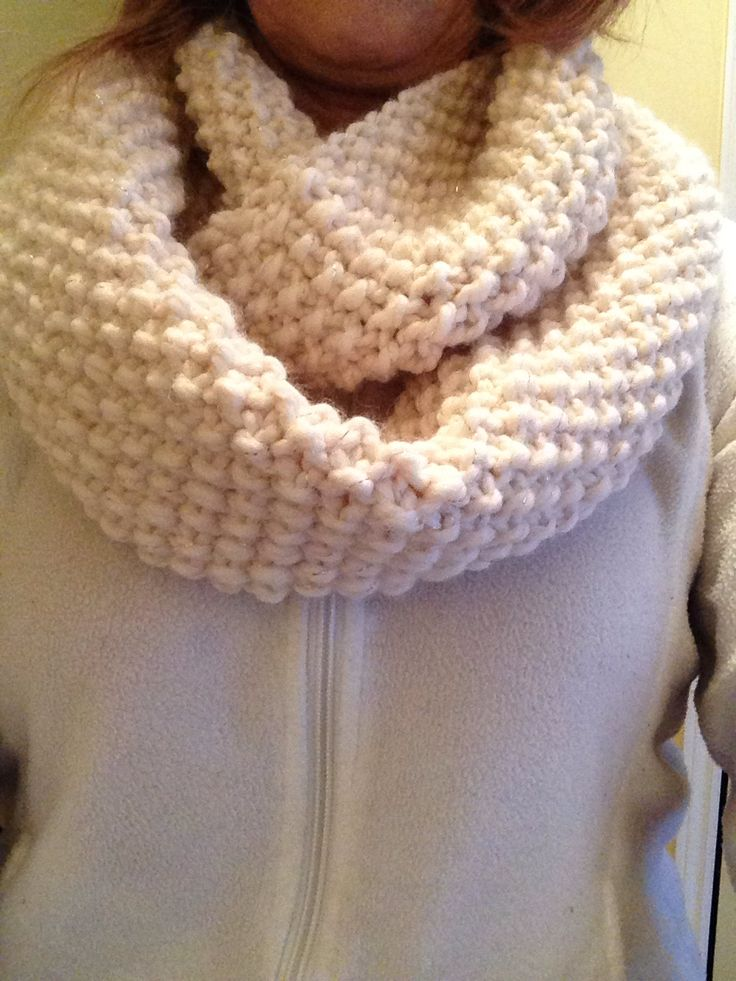 Long version cowl done in seed stitch pattern with Lion Brand Wool Ease  'Starlight'