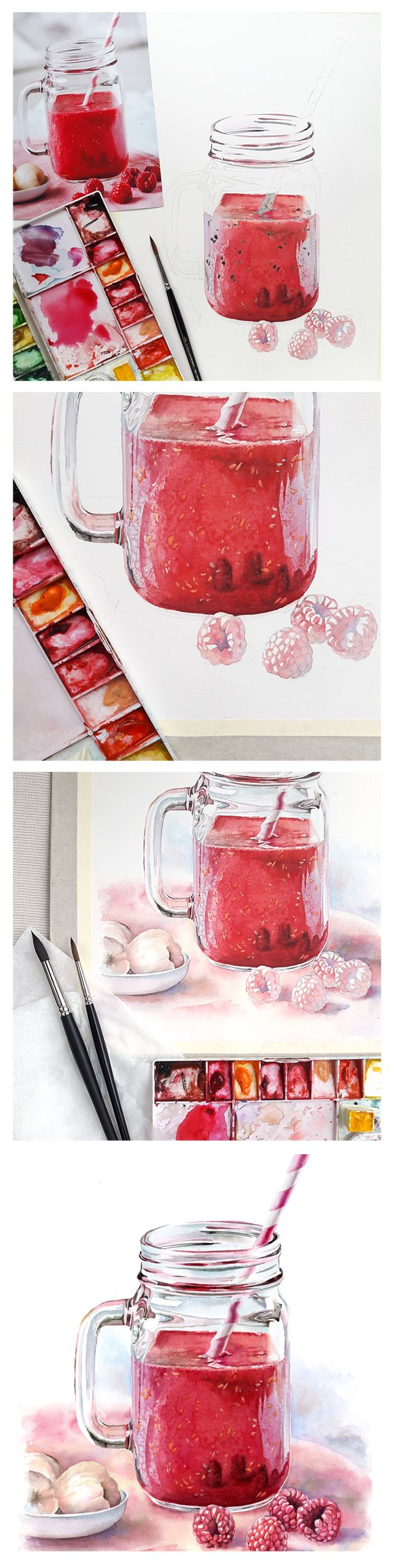 Watercolor tutorial - Food illustration by Kateryna Savchenko