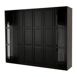 PAX Wardrobe, black-brown Undredal, Undredal glass - 300x60x236 cm - soft closing hinge - IKEA