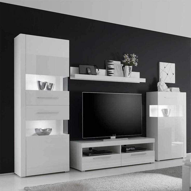 Ideal Wohnzimmer Wohnwand in Wei Hochglanz modern teilig Jetzt bestellen unter https