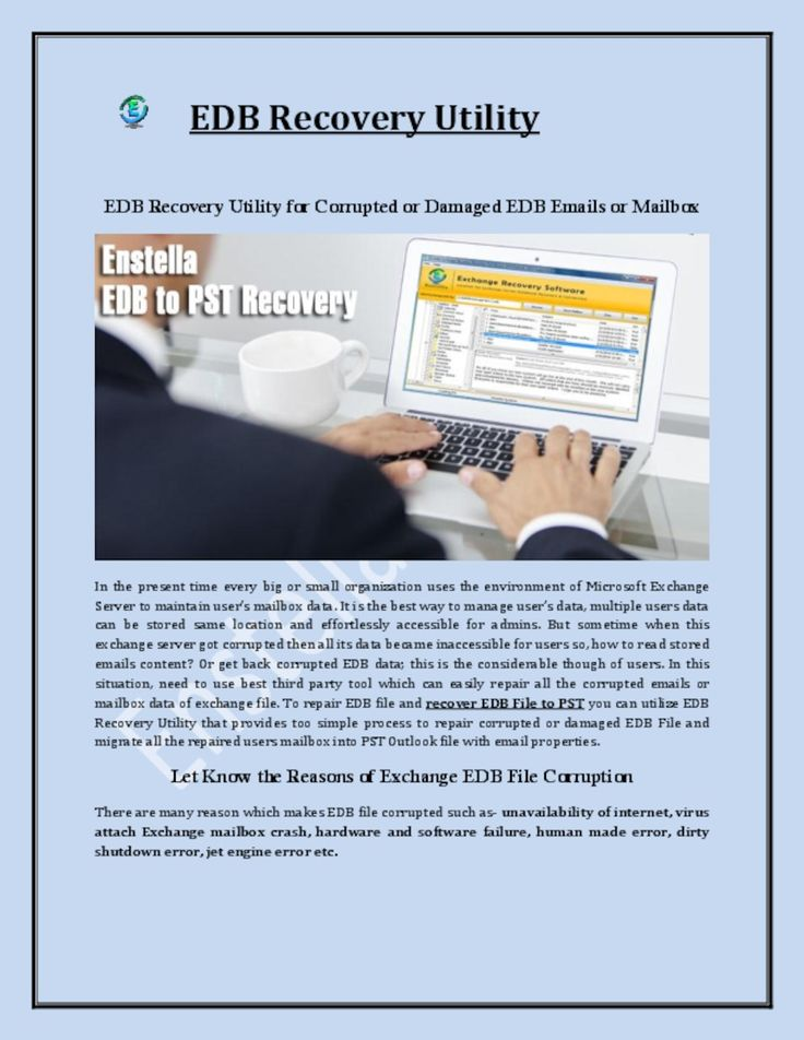 EDB Recovery tool efficiently recover corrupted EDB file and export EDB file to PST file in just few moments.  Read more- http://pdfsr.com/pdf/edb-to-pst-software
