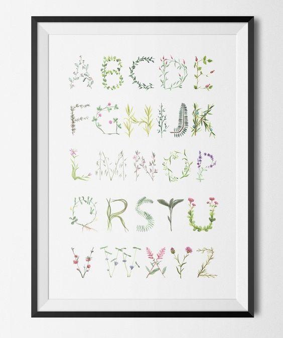 Floral alfabet poster - 40x60 från Konstgaraget hos ConfidentLiving.se